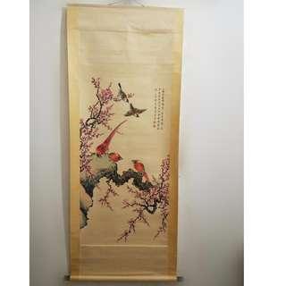 [舊時光] 舊時大六遊玩收藏 名家梅蘭芳先生手繪 花鳥畫 梅花 掛軸畫卷