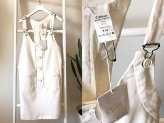 💯真品 全新連吊牌Auth Chloe overalls off white dress 女神文清優雅氣質吊帶牛仔裙
