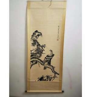 [舊時光] 藏友舊藏 八大山人寫 花鳥畫 雄鷹 高瞻遠矚 畫軸