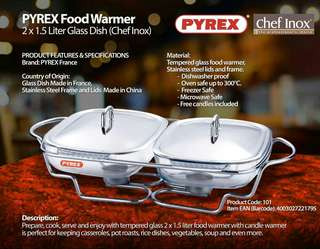 PYREX FOOD WARMER 2X1.5L GLASS DISH
