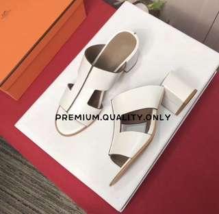 Hermes Ostia Shoes- white
