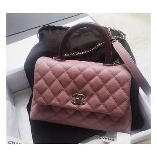 Authentic Chanel Small Coco Pink Lizard Handle