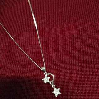 Duo Stars Gem Stones Studded 925 Silver Necklace