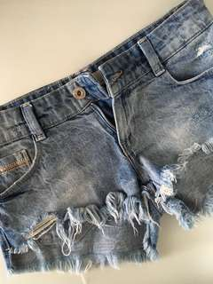 Zara Ripped Denim Shorts