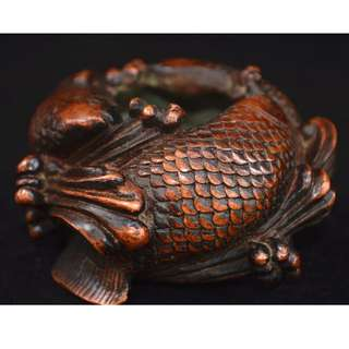 旧時民間收集  銅製  鯉魚紋  香炉