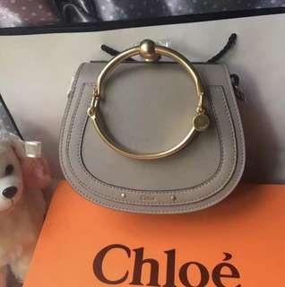 二手 8成新 Chloe Nile handbag purse 大象灰 金色手鐲 馬鞍包 手袋 側咩袋 肩包