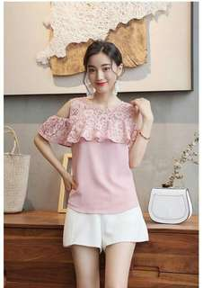 Online Sale: P350 only !!!  💋Lace Combined Cold Shoulder Top 💫Texture chiffon, soft comfy  💫Embroidered lace upper  💫Cold shoulder 💫Back single button  💫Free size best fits S-M 💫3 colors  💫Good quality
