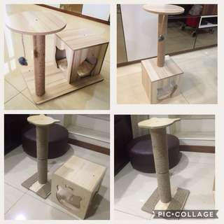 (New!) furniture wood cat scratch pole house