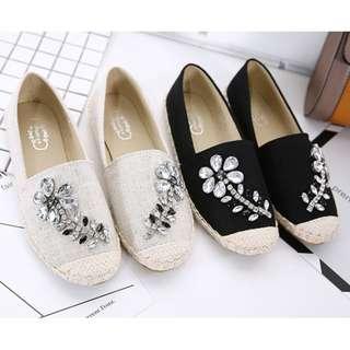 【現貨+預購】SL - 女鞋(13070):玻璃水鑽+麻繩底*漁夫鞋/休閒鞋/平底鞋/步鞋(尺寸:35-39碼)_免運。