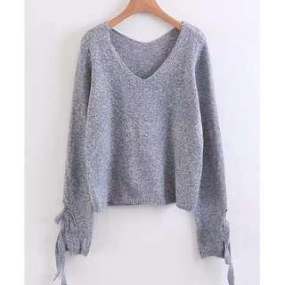 Eyelet Lace Up Cuff Knit Sweater