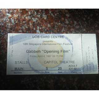 Old 1997 Capitol Theatre Ticket Gabbeh Opening Film --free normal mail
