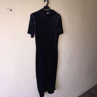 ZARA Velvet Mock Neck Midi Dress