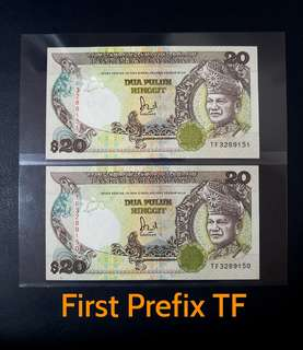 🇲🇾 Malaysia 6th Series RM20 Banknote~First Prefix TF~2pcs Consecutive Pair