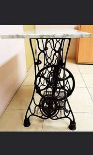 "TableAntique ""Singer Brand"" Spider Design Stand with Genuine Marble table top with Edge  $270"