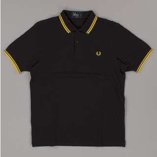 Fred Perry Black/Bright Yellow Slimfit size S