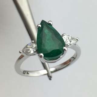 18K白金戒指 2卡30份綠寶 31份鑽石 18K Withe gold Ring 2.30ct Emerald 0.31ct Diamond 可議價