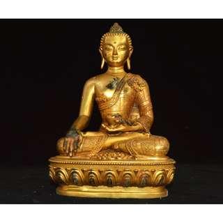早年游玩收集  銅製金鍍  釈迦牟尼仏  造像  供養品