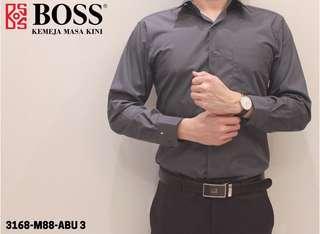 Kemeja Boss Warna Abu 3 -Lengan Panjang