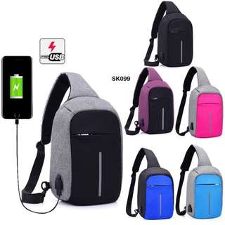 Multifunction Anti-Thief USB Charging Sling Backpack Premium Bag (SMALL)