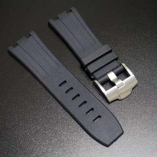 (2815) 全新 28mm Audemars Piguet (AP) 專用黑色橡膠代用錶帶配精鋼針扣