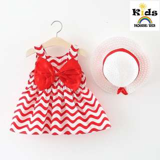 🚚 Lovely Wave Sleeveless Dress and Hat for Baby / Toddler  Girl (1-3yrs) CS033