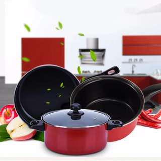 3 Piece Non Stick Dishwasher Safe Cookware Set - Red