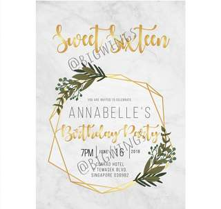 E-invitation card (Gold marble)