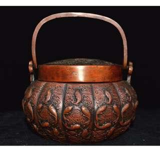 蔵友旧蔵  銅製  千魚  祥云紋  麒麟  提梁  暖手炉  乾隆年製在銘