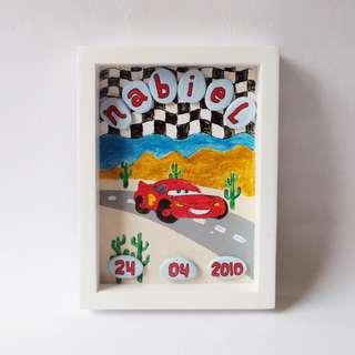 Pebble Art tema Lightning McQueen