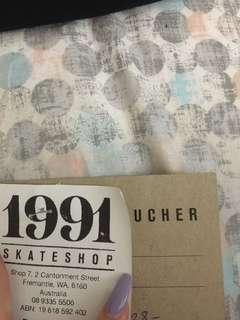 1991 SKATESHOP $128 GIFT VOUCHER