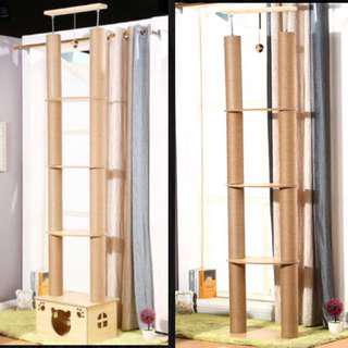 (New!) wood ceiling double tree thick scratch poles