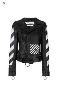 off white leather biker jacket size 38