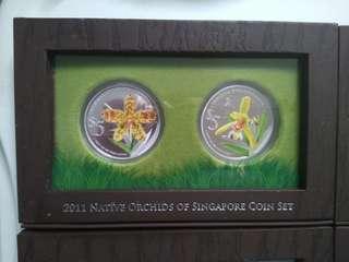 Singapore orchid series coins set