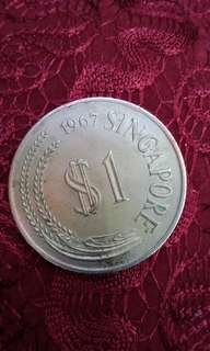 1967 $1 Singapore Old Coin