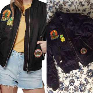Topshop Badged Bomber Jacket