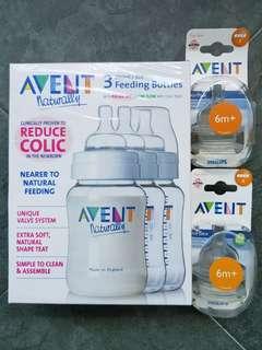 UNUSED Avent Milk Bottles & Teats