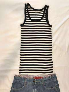 Gap Black & White Striped tank top