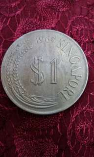 1969 $1 Singapore Old Coin