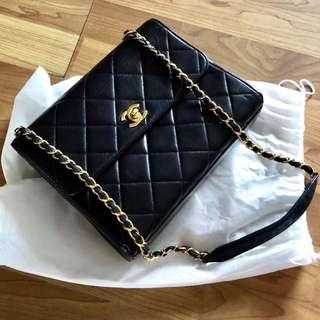 Chanel Vintage 黑色羊皮 Square Flap 23cm