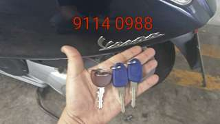 Duplicated an additional set of Vespa Primavera Bike Key # For all your car keys and remotes needs# WhatsApp: 9114 0988