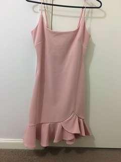Pink Ruffle Semi-Formal Tight Mini Dress
