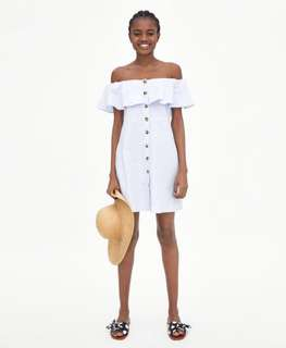 LOOKING FOR Zara Ruffle Sleeve Off The Shoulder Button Dress