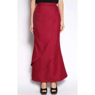 CALOMERA EYLIN LAYERED MERMAID SKIRT IN MAROON SIZE:S (RM25 FREE POSTAGE)
