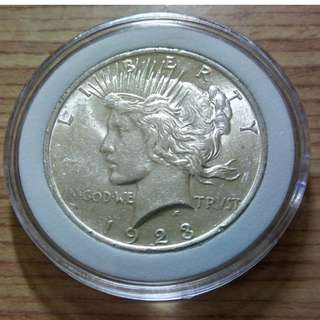美國1923年和平鷹一圓銀幣 保真銀光 UNC 費城版 附內墊小圓盒
