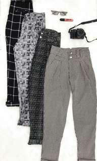 Pegged Trouser Plaid Pants Garterized