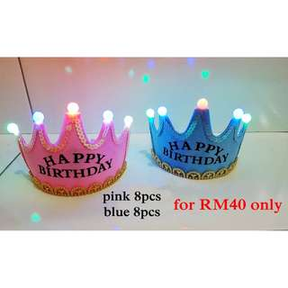 💕 READY STOCK 💕 Birthday party Crown Hat with LED lights