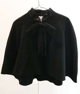 Prabal Gurung Black Wool Cape