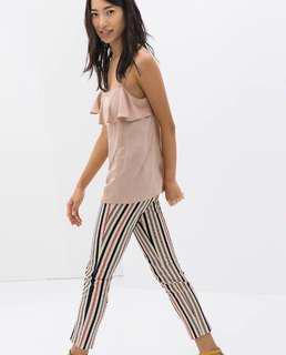 Zara Multicolored Pinstripe Trousers (L)