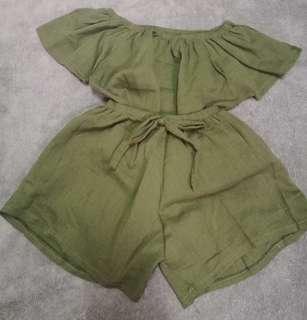 Baby Girl's Terno / Off shoulder and shorts / navy green