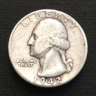 1942年 美國25分銀幣一枚